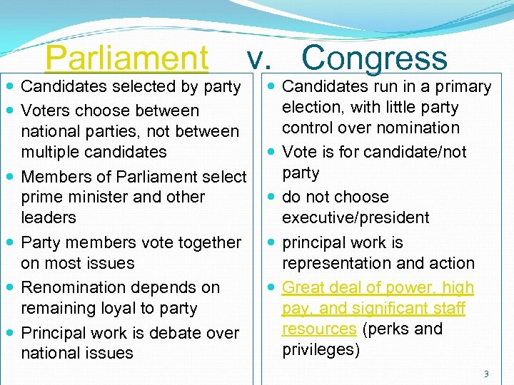 Parliament v. Congress Candidates selected by party Voters choose between national parties, not between