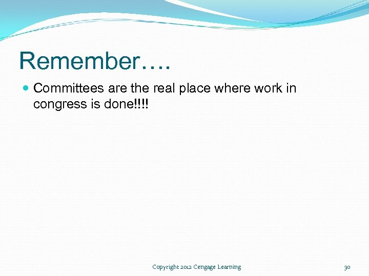Remember…. Committees are the real place where work in congress is done!!!! Copyright 2012
