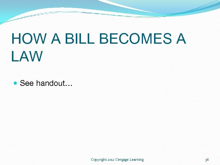 HOW A BILL BECOMES A LAW See handout… Copyright 2012 Cengage Learning 36