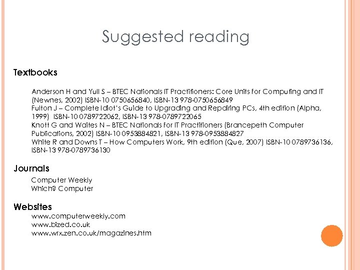 Suggested reading Textbooks Anderson H and Yull S – BTEC Nationals IT Practitioners: Core