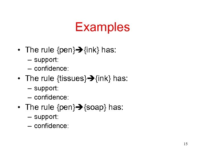 Examples • The rule {pen} {ink} has: – support: – confidence: • The rule