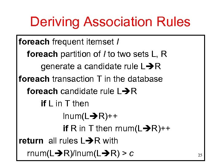 Deriving Association Rules foreach frequent itemset I foreach partition of I to two sets