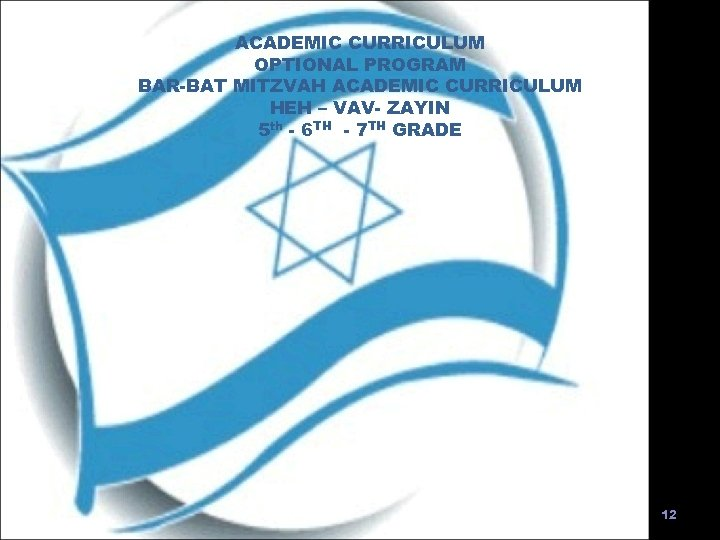 ACADEMIC CURRICULUM OPTIONAL PROGRAM BAR-BAT MITZVAH ACADEMIC CURRICULUM HEH – VAV- ZAYIN 5 th