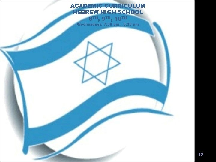 ACADEMIC CURRICULUM HEBREW HIGH SCHOOL 8 TH, 9 TH, 10 TH Wednesdays, 7: 30