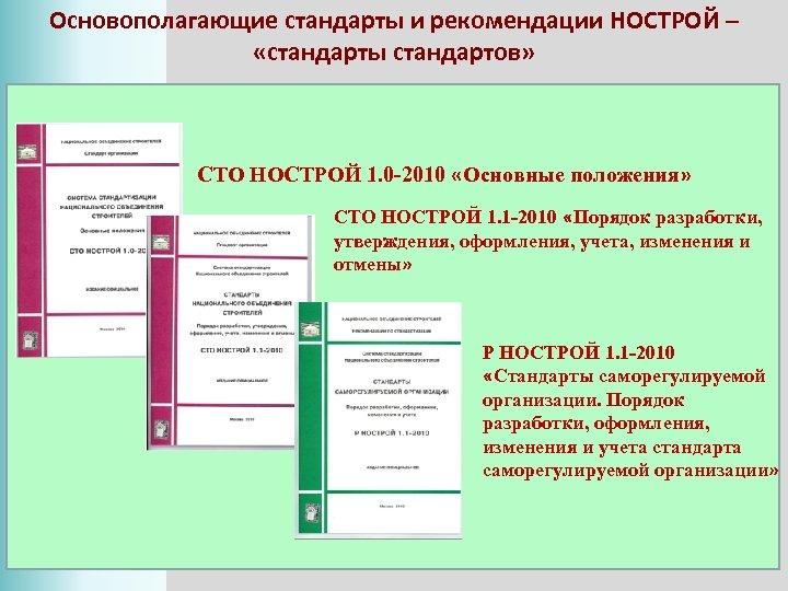 Основополагающие стандарты и рекомендации НОСТРОЙ – «стандарты стандартов» СТО НОСТРОЙ 1. 0 -2010 «Основные