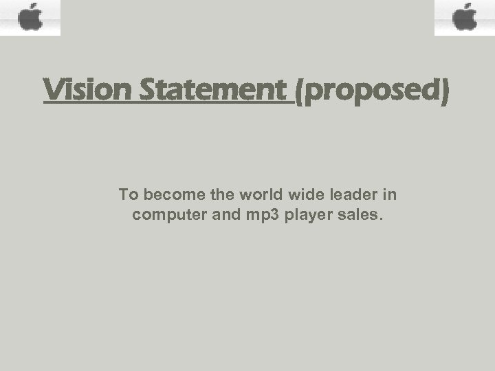 Vision Statement (proposed) To become the world wide leader in computer and mp 3