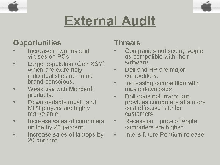 External Audit Opportunities Threats • • Increase in worms and viruses on PCs. Large