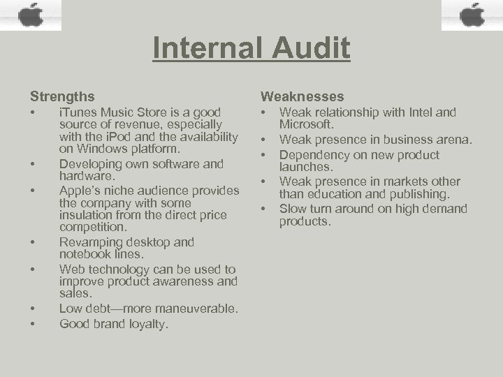Internal Audit Strengths Weaknesses • • i. Tunes Music Store is a good source