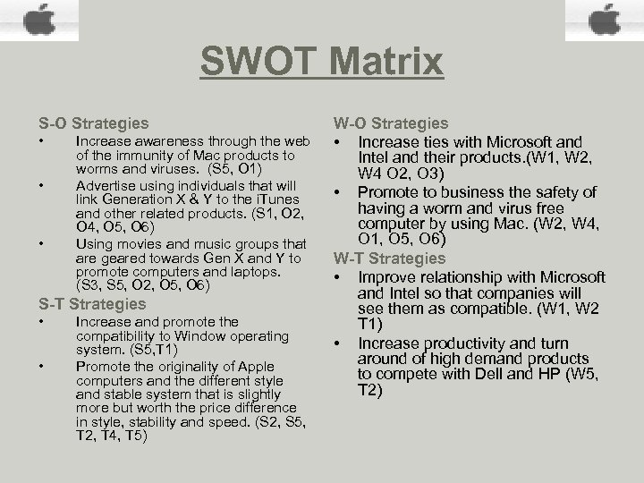 SWOT Matrix S-O Strategies • • • Increase awareness through the web of the