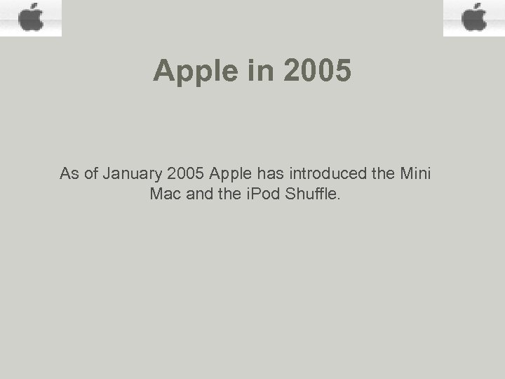 Apple in 2005 As of January 2005 Apple has introduced the Mini Mac and