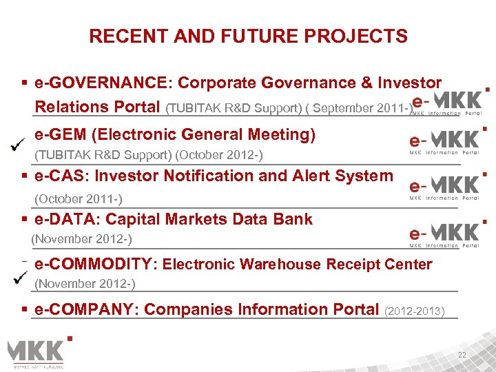 RECENT AND FUTURE PROJECTS § e-GOVERNANCE: Corporate Governance & Investor Relations Portal (TUBITAK R&D