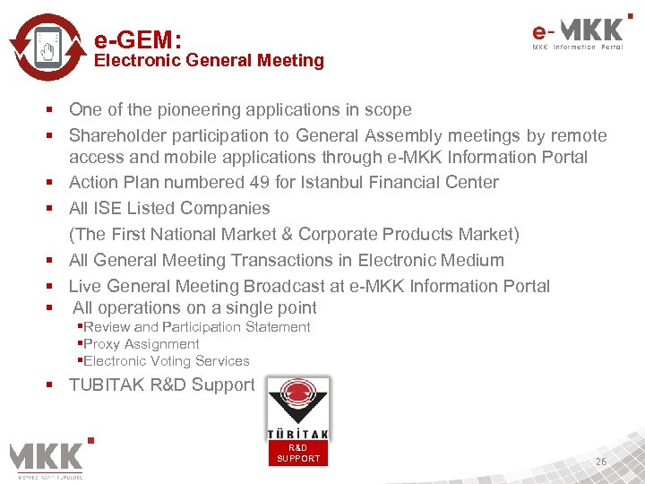 e-GEM: Electronic General Meeting § One of the pioneering applications in scope § Shareholder