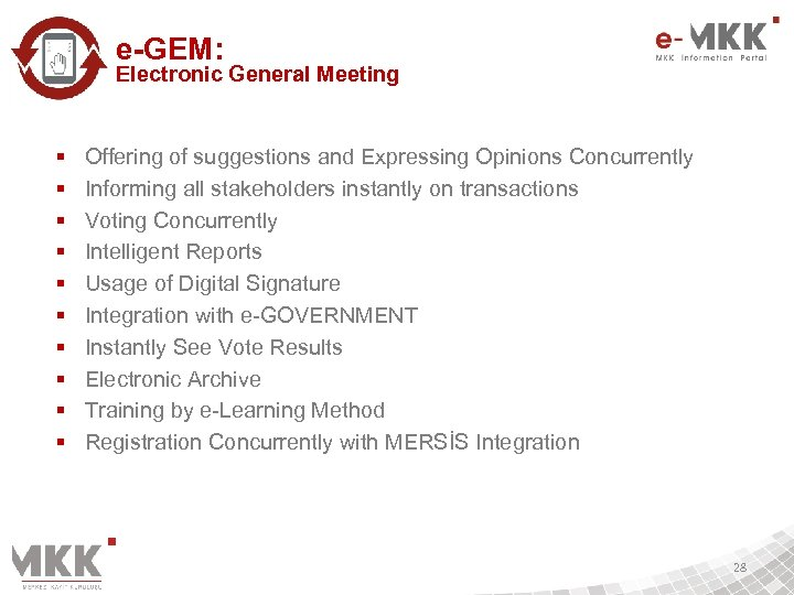 e-GEM: Electronic General Meeting § § § § § Offering of suggestions and Expressing