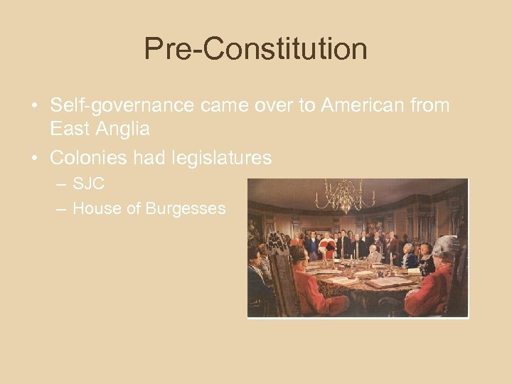 Pre-Constitution • Self-governance came over to American from East Anglia • Colonies had legislatures