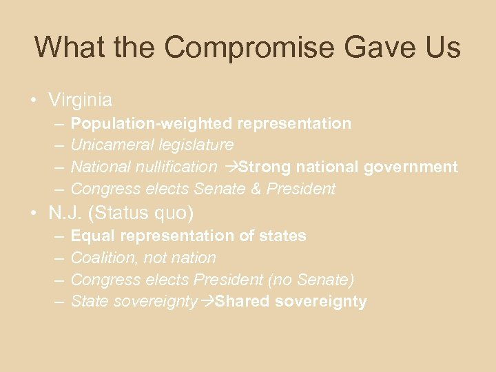 What the Compromise Gave Us • Virginia – – Population-weighted representation Unicameral legislature National