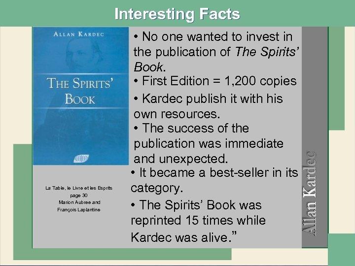 Interesting Facts La Table, le Livre et les Esprits page 30 Marion Aubree and