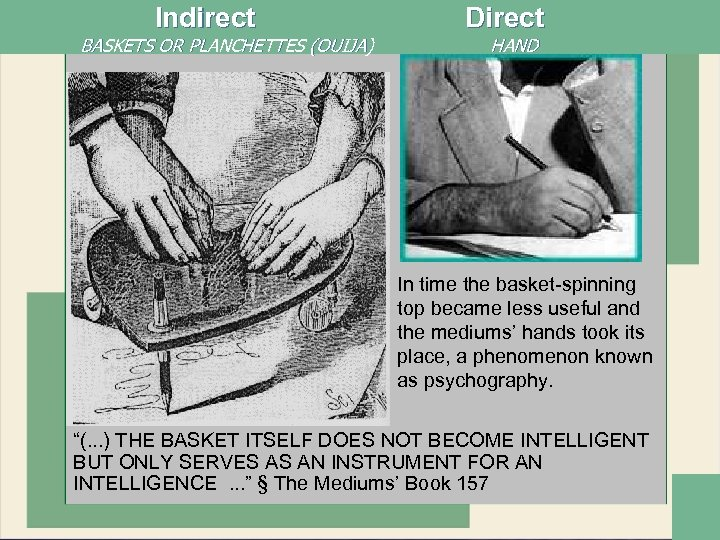 Indirect Direct BASKETS OR PLANCHETTES (OUIJA) HAND In time the basket-spinning top became