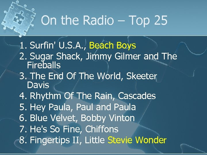 On the Radio – Top 25 1. Surfin' U. S. A. , Beach Boys