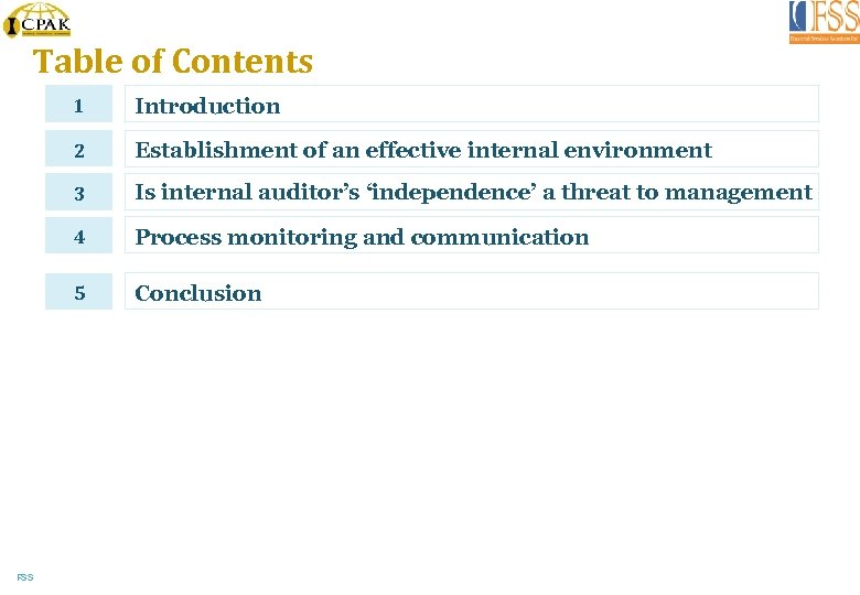 Table of Contents 1 2 Establishment of an effective internal environment 3 Is internal