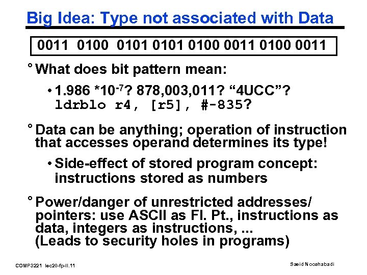 Big Idea: Type not associated with Data 0011 0100 0101 0100 0011 ° What