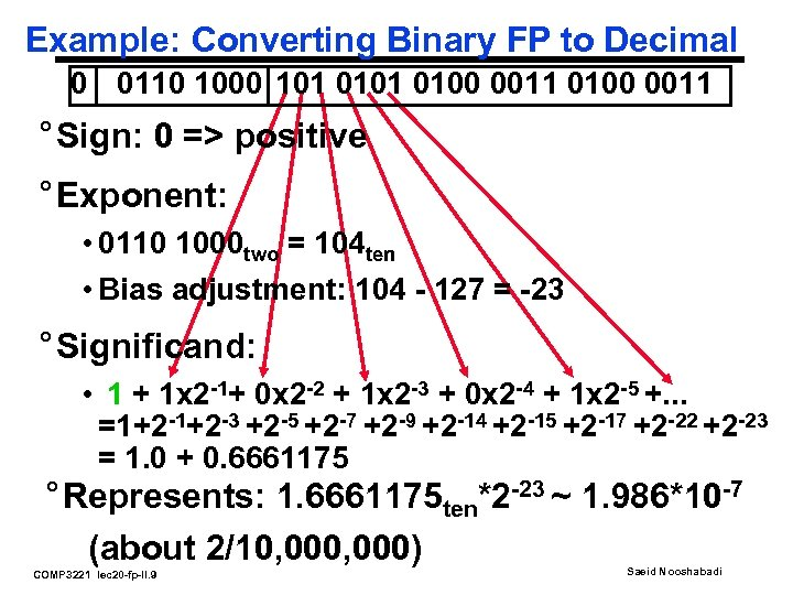 Example: Converting Binary FP to Decimal 0 0110 1000 101 0100 0011 ° Sign: