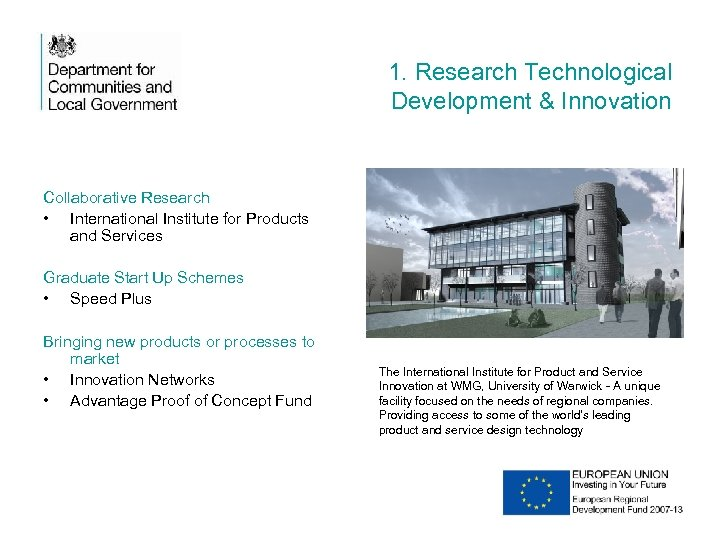 1. Research Technological Development & Innovation Collaborative Research • International Institute for Products and