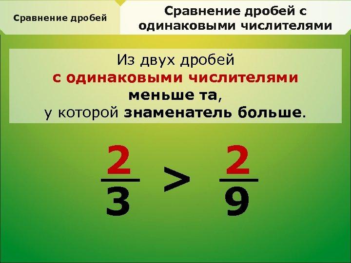 Сравнение дробей с одинаковыми числителями Из двух дробей с одинаковыми числителями меньше та, у