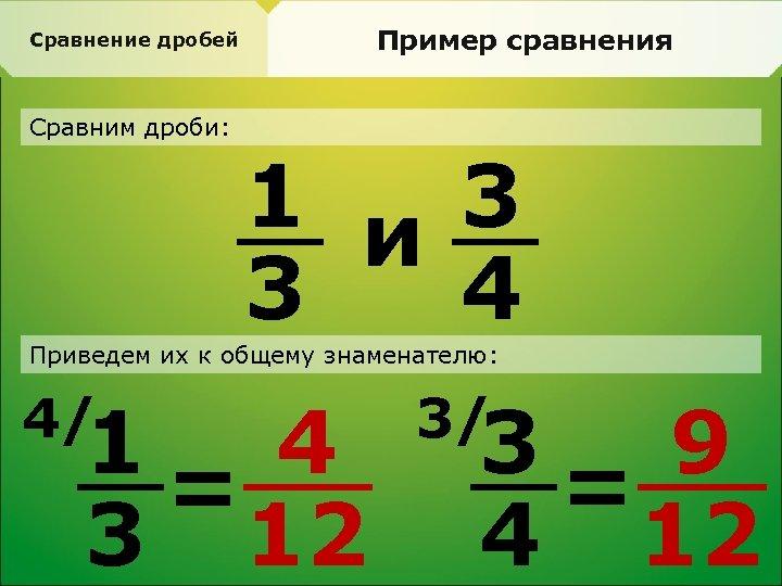 Пример сравнения Сравнение дробей Сравним дроби: 1 и 3 3 4 Приведем их к