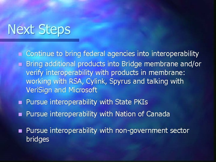Next Steps Continue to bring federal agencies into interoperability n Bring additional products into