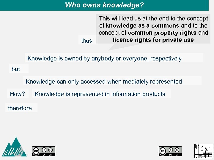 Who owns knowledge? This will lead us at the end to the concept of