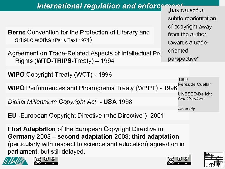 """International regulation and enforcement """"has caused a subtle reorientation of copyright away Berne Convention"""