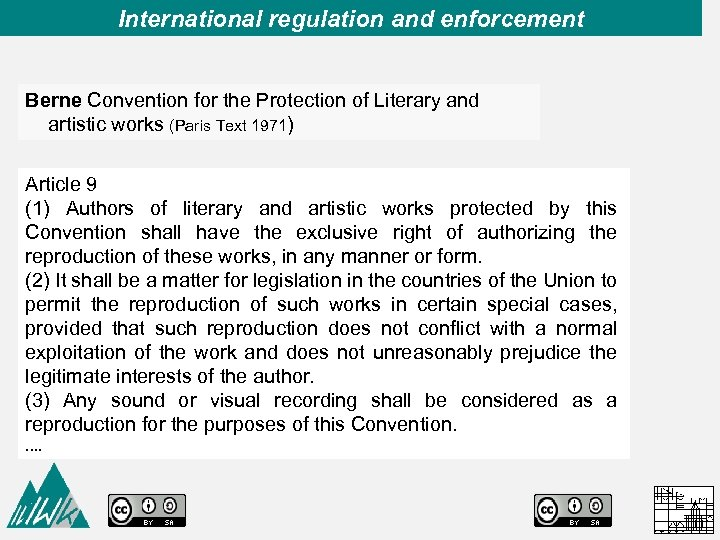 International regulation and enforcement Berne Convention for the Protection of Literary and artistic works