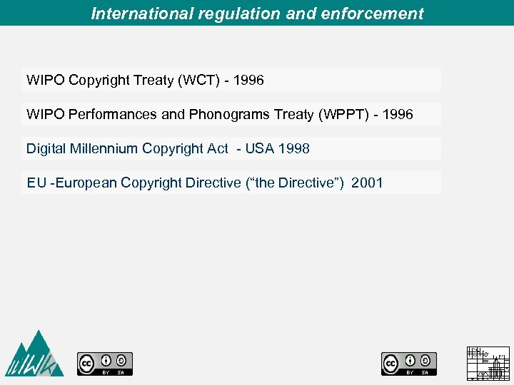 International regulation and enforcement WIPO Copyright Treaty (WCT) - 1996 WIPO Performances and Phonograms