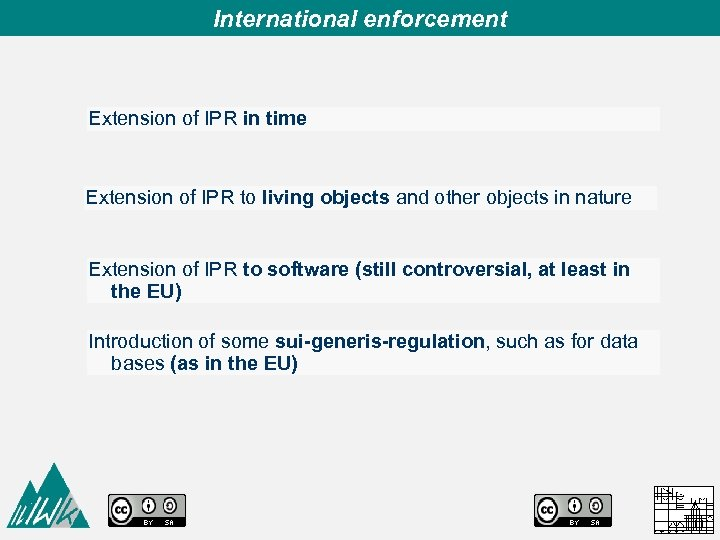 International enforcement Extension of IPR in time Extension of IPR to living objects and