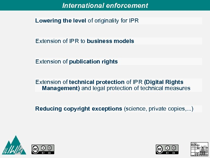 International enforcement Lowering the level of originality for IPR Extension of IPR to business