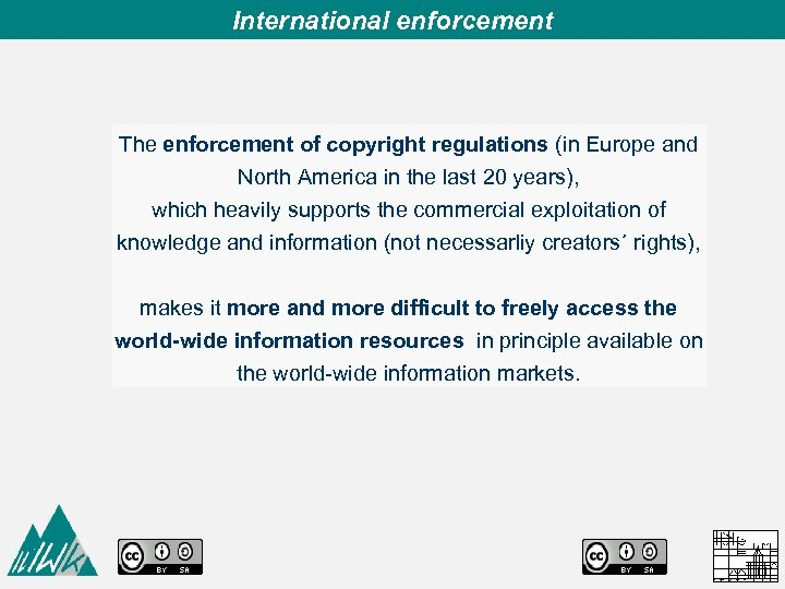 International enforcement The enforcement of copyright regulations (in Europe and North America in the
