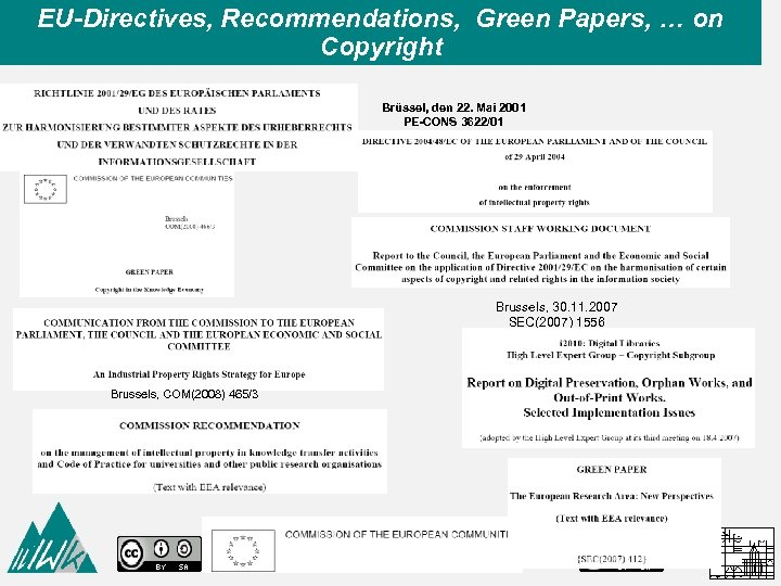 EU-Directives, Recommendations, Green Papers, … on Copyright Brüssel, den 22. Mai 2001 PE-CONS 3622/01