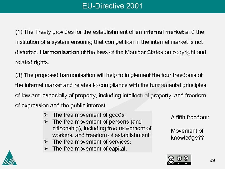 EU-Directive 2001 (1) The Treaty provides for the establishment of an internal market and