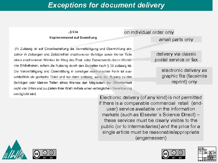 Exceptions for document delivery on individual order only amall parts only delivery via classic
