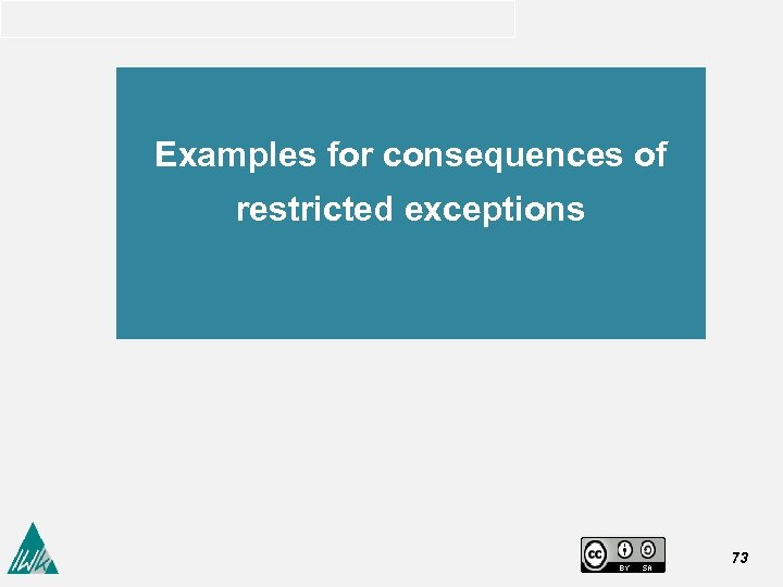 Examples for consequences of restricted exceptions 73