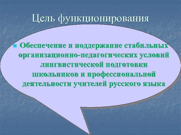 Цель функционирования n Обеспечение и поддержание стабильных организационно-педагогических условий лингвистической подготовки школьников и профессиональной