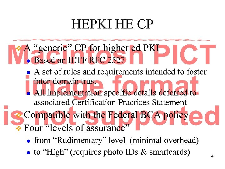 "HEPKI HE CP v. A l l l ""generic"" CP for higher ed PKI"