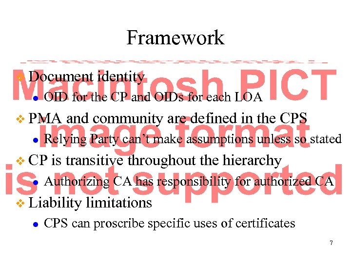 Framework v Document l OID for the CP and OIDs for each LOA v