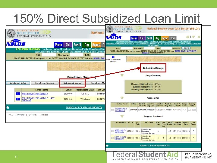 150% Direct Subsidized Loan Limit 11
