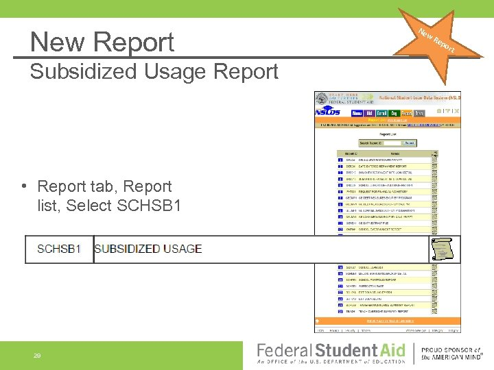 New Report Subsidized Usage Report • Report tab, Report list, Select SCHSB 1 29