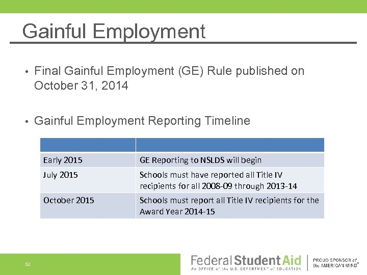 Gainful Employment • Final Gainful Employment (GE) Rule published on October 31, 2014 •