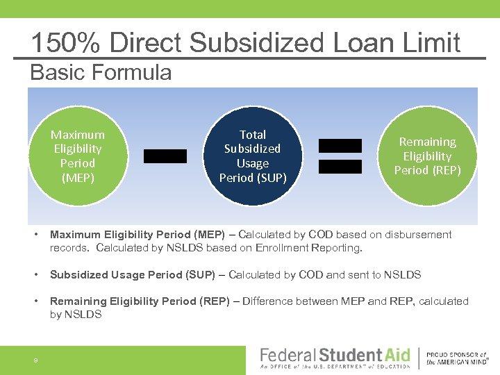 150% Direct Subsidized Loan Limit Basic Formula Maximum Eligibility Period (MEP) Total Subsidized Usage