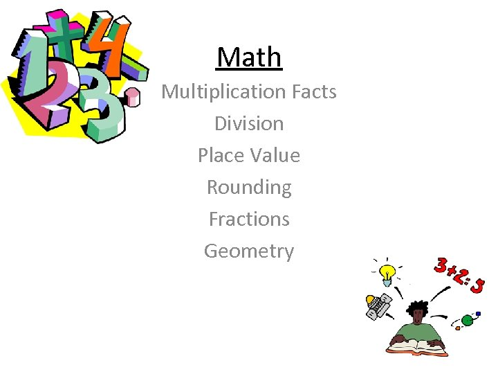 Math Multiplication Facts Division Place Value Rounding Fractions Geometry