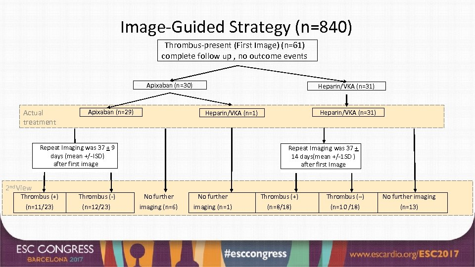 Image-Guided Strategy (n=840) Thrombus-present (First Image) (n=61) complete follow up , no outcome events