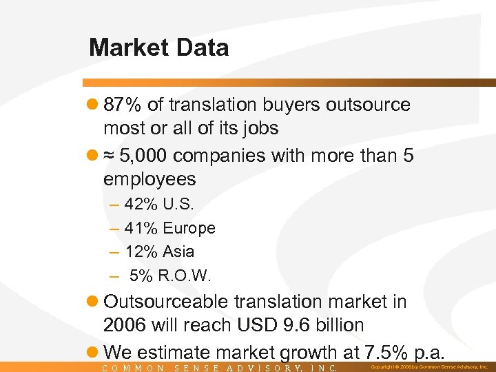 Market Data l 87% of translation buyers outsource most or all of its jobs
